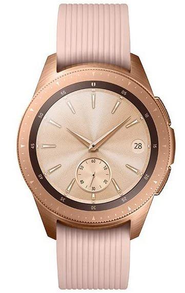 montre connectee pour femme Samsung Galaxy Smartwatch avec un bracelet en silicone rose et un boitier en acier couleur rose gold