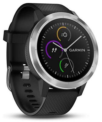 montre de sport connectee Garmin Vivoactive 3 avec un bracelet en silicone noir et un boitier argente en acier