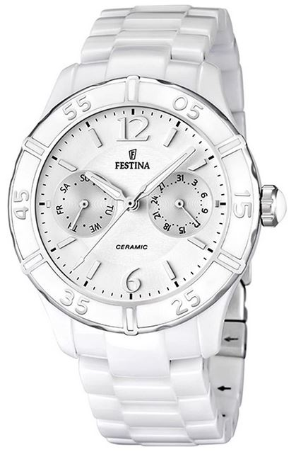 montre femme Festina avec son bracelet en ceramique blanche son boitier en acier argente et son cadran chronographe blanc