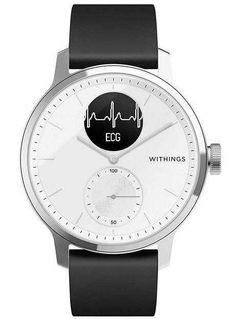 montre hybride connectee compatible avec un smartphone Android de la marque Withings modele Scanwatch avec un cadran blanc et un bracelet en cuir noir lisse