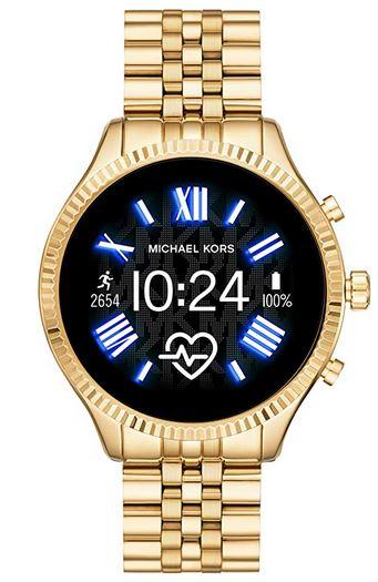 montre intelligente doree pour femme de la marque Michaek Kors Gen 5 lexington