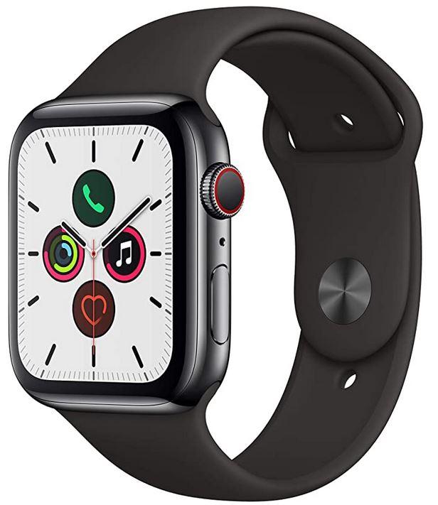 montre intelligente et connectee de la marque Apple modele apple watch serie 5 avec bracelet en silicone noire