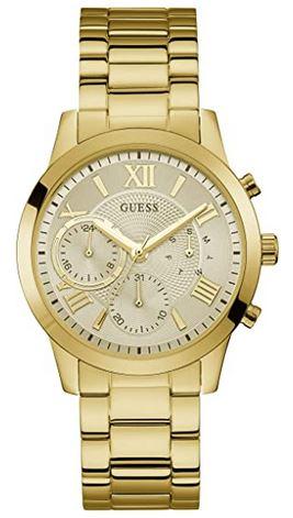 montre pour femme Guess multi dial Solar tout en acier inoxydable dore avec bracelet a 3 mailles et cadran chronographe