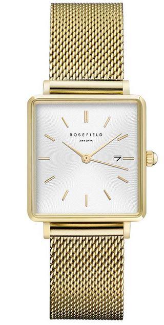 montre pour femme de la marque Rosefield avec un cadran carre sur fond blanc et un bracelet en maille milanaise en acier inoxydable dore