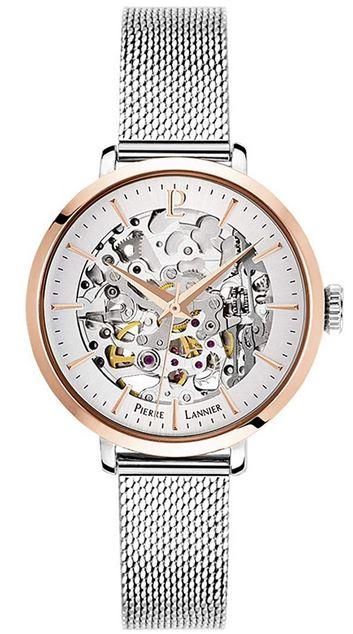 montre squelette pour femme de la marque Pierre Lannier tout en acier inoxydable couleur argent avec des details rose gold