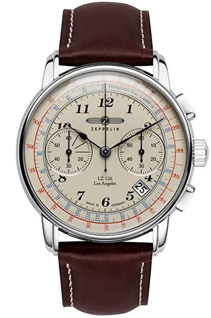 montre style aviateur vintage pour homme de la marque Zeppelin modele Lz 126 Los Angeles chronographe masculin avec un cadran retro et un bracelet en cuir marron fonce