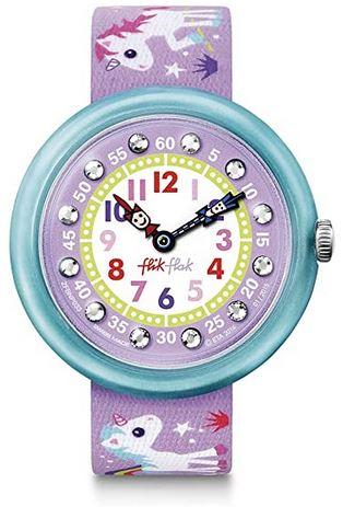 montre violette Flik Flak pour fille avec un bracelet en tissu orne de licornes