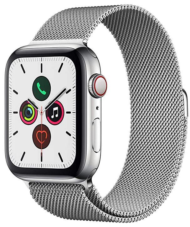 smartwatch Apple Watch serie 5 Gps et cellular avec boitier en acier inoxydable couleur argent de 44mm et bracelet en maille milanaise