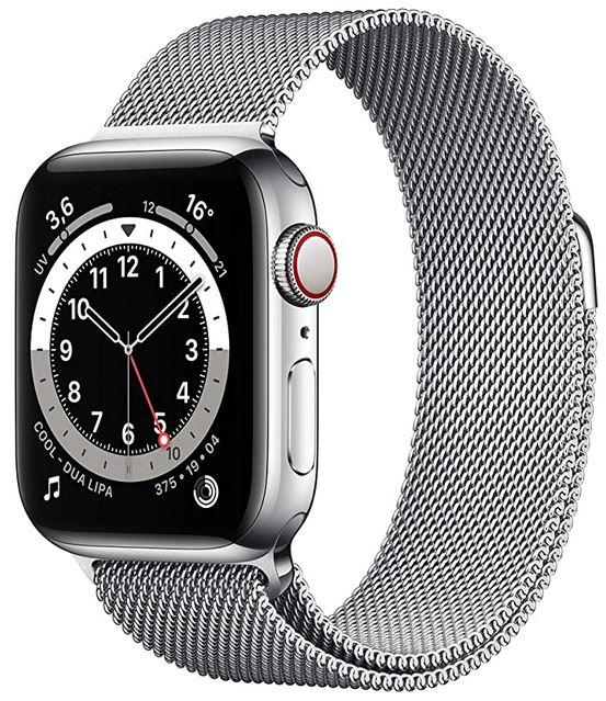 smartwatch Apple Watch serie 6 pour homme avec bracelet en maille milanaise en acier inoxydable argente