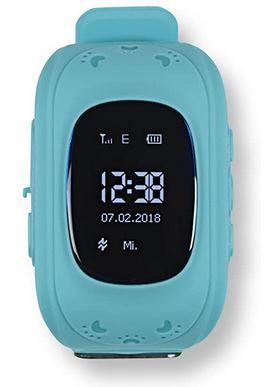 smartwatch Easymaxx pour enfant avec fonction GPS et localisation modele bleu clair pour fille et garcon