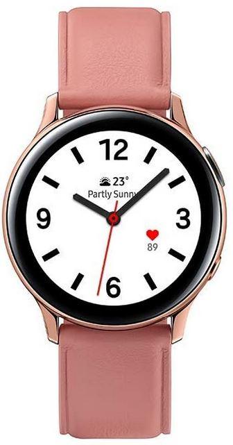 smartwatch Samsung Galaxy Watch active 2 rose lumiere avec bracelet de 40mm plutot reservee aux femmes