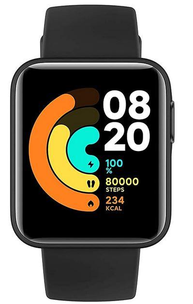 smartwatch Xiaomi MI watch lite noire avec bluetooth GPS alarme tracker de sommeil bracelet en silicone noire