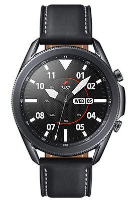 smartwatch compatible android Samsung Galaxy Watch 3 R840 avec cadran de 45mm bracelet en cuir noir et boitier en acier inoxydable noir