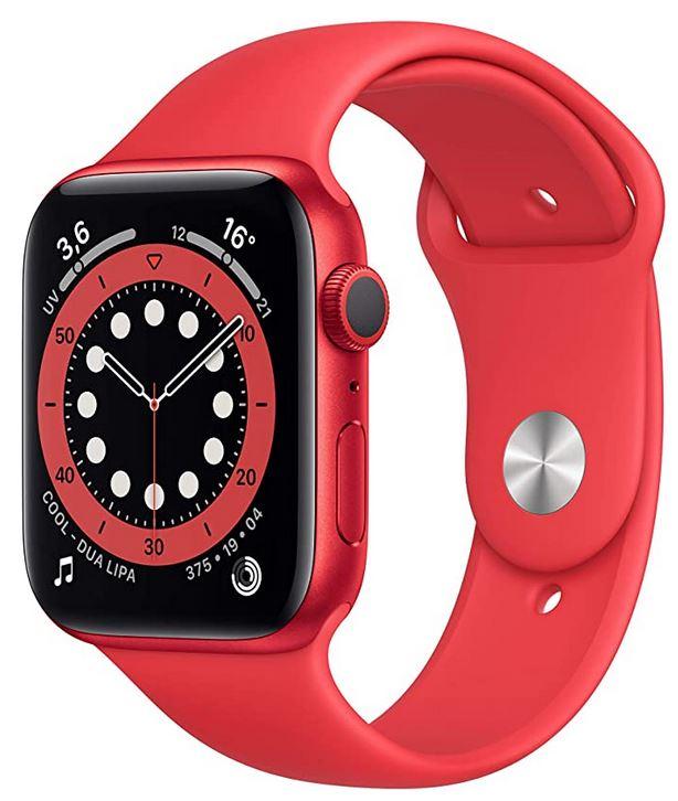 smartwatch connectee Apple Watch serie 6 rouge GPS avec cadran de 44mm pour grand poignet