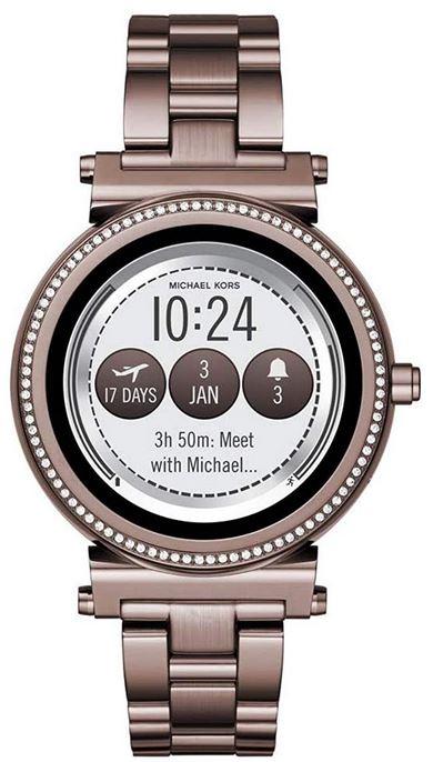 smartwatch connectee Michael Kors Sofie mauve en acier inoxydable modele avec tracker de sommeil tracker de fitness smart notifications et bien plus