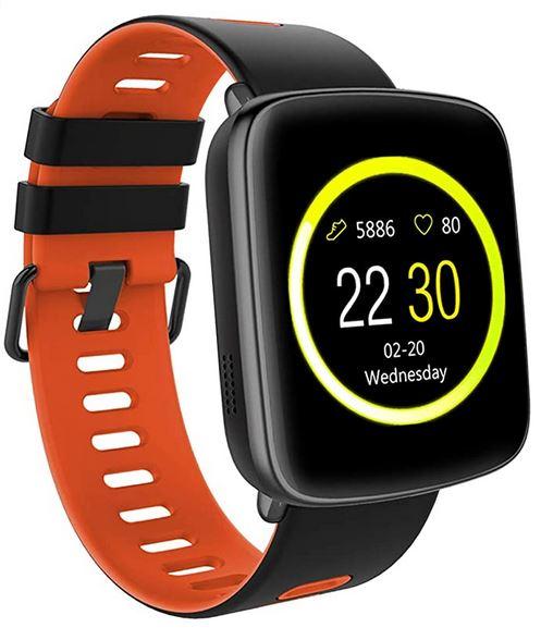 smartwatch connectee Willful noire et orange avec compatible avec la plupart des smartphones sous iOS et android
