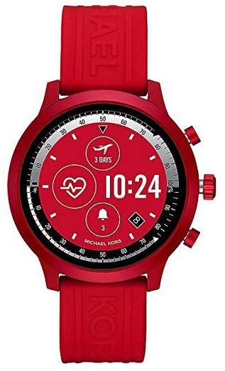 smartwatch feminine de la marque Michael Kors avec son bracelet de silicone rouge et son boitier en acier egalement rouge