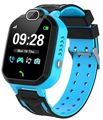 smartwatch pour enfant de couleur bleu clair et noir avec bracelet de silicone montre de jeu avec de nombreuses fonctions pour les enfants de 4 a 12 ans