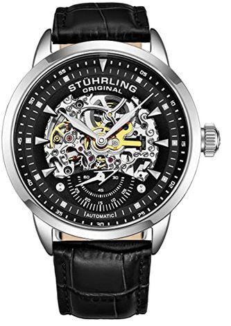 superbe montre automatique noire avec mecanisme apparent argente pour homme de la marque Stuhrling